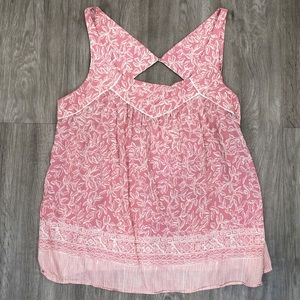 Maeve for Anthropologie Pink Floral Top